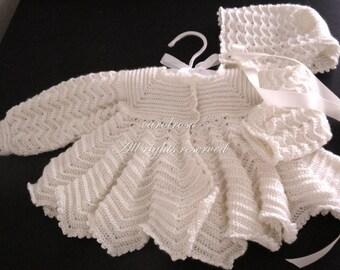 CROCHET PATTERN Designer Baby Jacket Coat Cardigan and Bonnet - Ripple Stitch Up to 6 months