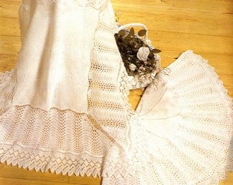 Baby Knitting PATTERN - 2 Traditional Lace shawls - Round and Square - Shetland Lace