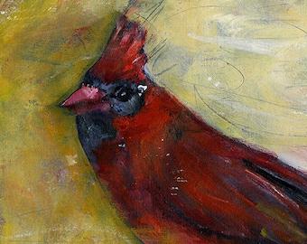 Bird print Bird painting Cardinal  mixed media red yellow cream