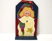 Santa, Handpainted, Large Wood Tag, Wall Art or Shelf Sitter