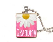 Pink Grandma With Flower - Scrabble Tile Necklace - Free Necklace Chain Included