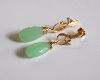 Apple Green Chalcedony Earrings- Dangle Drop  Earrings