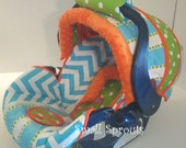 Chicco Key Fit 30 Landen~Blue Chevron/Stripe/Lime Polka Dot/Orange Minky Dot Infant Car Seat Cover 5 piece set for Katie