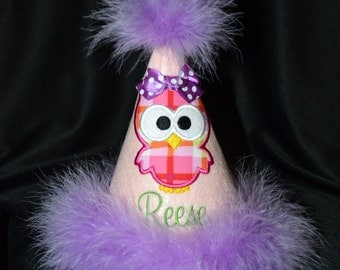 Divine Owl 1st Birthday Hat Birthday Party Hat With Maribou Trim or have me custom make a hat to match your party theme