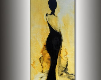 Abstract Painting, Original Abstract painting, Contemporary Modern Fine Art, Figurative Canvas Art, by Henry Parsinia Large 48x24