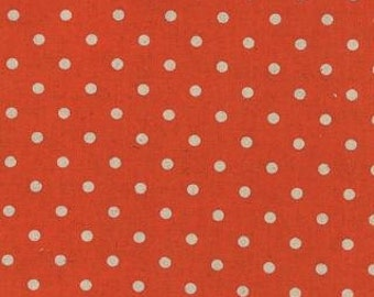 Mochi Linen Dots by Momo for Moda Fabrics, Dots Tangerine 1/2 yard total