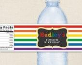 Chalkboard Rainbow Party - 100% waterproof personalized water bottle labels