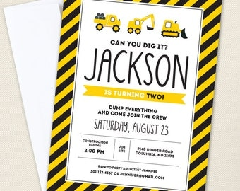 Construction Party Invitations - Professionally printed *or* DIY printable