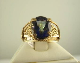 RI-0074 Natural Blue Mystic Fire Topaz  Ring Handmade Jewelry Wire Wrapped With 14k Gold Filled Wire