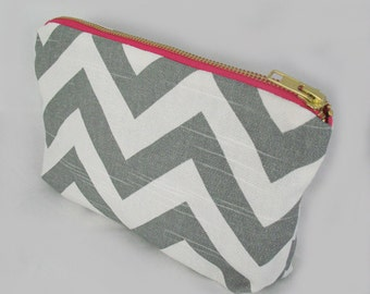 Chevron Grey Zipper Clutch - Pink Metal Zipper