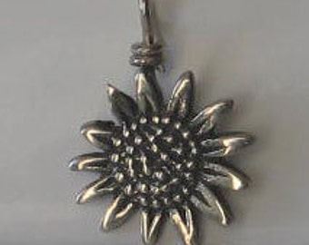 Vintage Sterling Silver Sunflower Charm