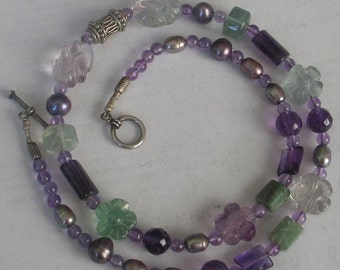 SALE Amethyst Fluorite Necklace