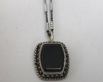 SALE Rescued Upcycled Vintage Sterling and Onyx Pendant