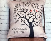 Personalized Wedding Gift Pillow Cover LOVE BIRDS Wedding Gift Cotton Anniversary Gift