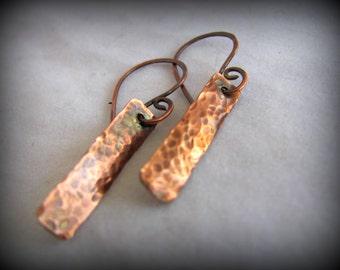 Rustic Earrings,Hammered Copper Earrings, Copper Dangle Earrings Textured and Oxidized, Earthy Jewelry, Handmade Copper Jewelry, Minimalist