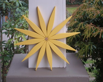 """Cheerful Yellow Wooden Wreath to Brighten Your Day 17"""" wide available in 15 Colors for Outdoor Home Decor - handcrafted by Laughing Creek"""