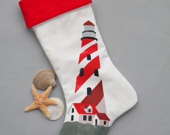 "LIGHTHOUSE CHRISTMAS STOCKING 24"" (61cm) striped coastal seashore nautical beach ocean shelling beachcombing Crabby Chris"