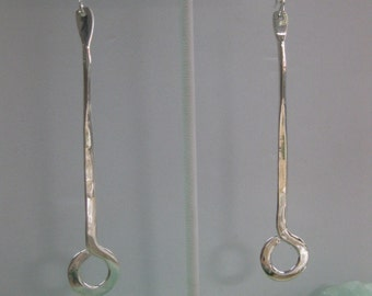 Sterling Silver Long Loop Dangle Earrings