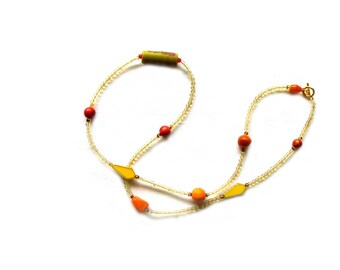 Long Illusion Necklace in Yellows and Oranges