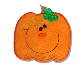 Happy pumpkin........ Embroidered Iron on patch, Halloween, Thanksgiving, Fall