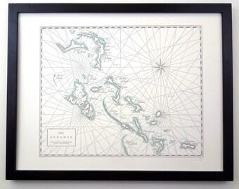 Bahamas, Letterpress printed map (Grey)