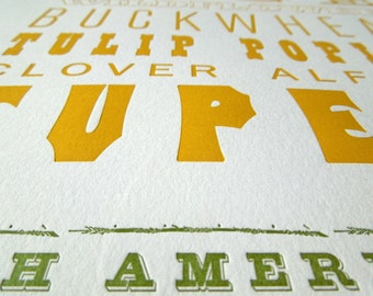 North American Honey, Letterpress Printed Poster