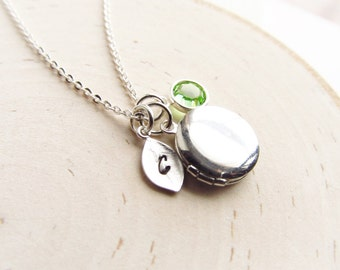 Personalized Locket Necklace with Birthstone, Silver Locket, Silver Initial Necklace, Tiny Locket, Bridesmaid Gift, Graduation Gift