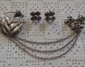 Vintage Brooch Sterling Chatelaine and Earrings