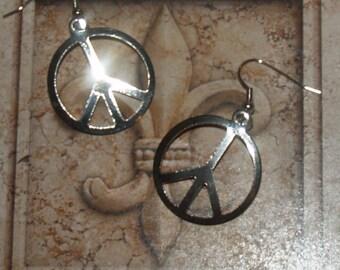 Dangle Earrings Peace Sign Vintage Dangles