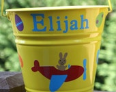 Personalized Birthday, Easter, or Baby shower gift toy pail bucket for boys or girls with Airplane and Easter eggs or polka dots