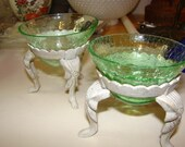 ON SALE NOW Tea Light Candle Holder Green Crackle Glass Bowl Metal Tripod Base Pair