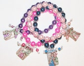 "Fairy House bracelet man made pearls OOAK unique 7"" choose your color"