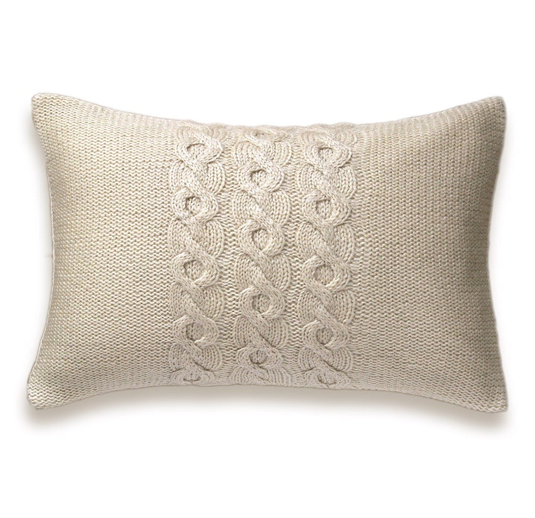 Knitting Pillow Cover : Decorative cable knit trio pillow cover in ivory inch