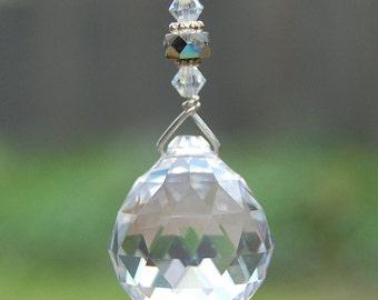 Hanging Prism Crystal, Suncatcher, Rearview Mirror Charm, Window Decoration, Light Pull, Fan Pull, Rainbow Maker