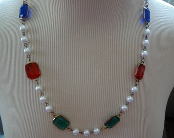 Vintage Pearl and Jewel-Tone Gem Necklace