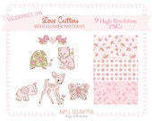 Valentine's Day Love Critters CLIP ART SET with floral patterns -for personal and commercial use- pinks