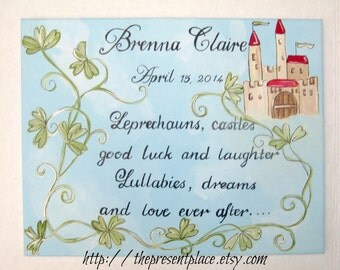 Personalized Irish Baby Blessings,blue skies and castles,Irish blessing for kids,baby blessings,Irish blessings for baby,baby gift,children