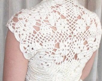 luxurious  Bridal Silk / Cashmere Shrug handknit /crochet wedding bolero diamond white Size S, M