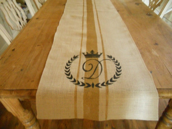 Burlap  dimensions table Table runner Monogram burlap Runner