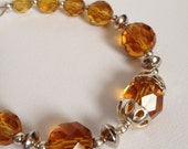 Faceted Amber Crystal Sterling Silver Bracelet Wedding Prom Formal Engagement OOAK Yellow / Gift for Her