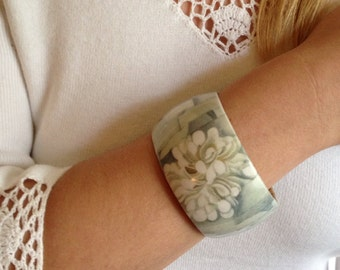Georgia O'Keefe Decoupage Collage Abstract Flower Bangle Bracelet  OOAK Wearable Art Statement Bracelet
