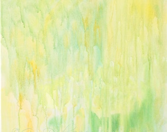 WAS 200 NOW 100! Abstract Painting Soft Greens Soft Soothing Spring Colours Acrylic Titled Soft Spring Rain 18x18 inches