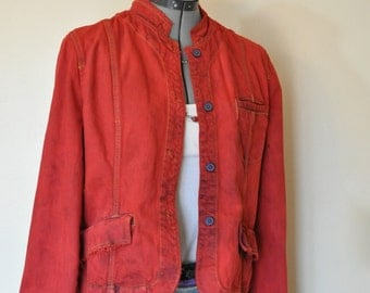 "Red Jrs. Large Denim JACKET - Rustic Red Hand Dyed Upcycled Mossimo Denim Military Style Jacket - Adult Womens Juniors Large (36"" chest)"