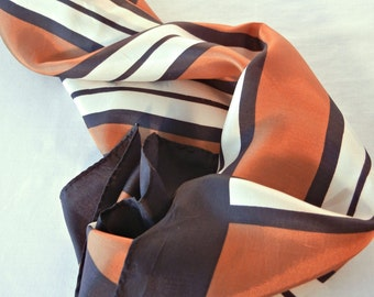 Vintage Striped Scarf, Copper Brown White Wide Stripes, Small Square Shape, Acetate, 50s 60s