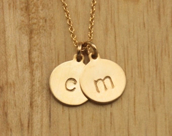 Gold Disc Initial Necklace - 2 Tiny Small Layered Circle Charm - Delicate Custom Personalized Dainty Couple Mom Mommy Gift - Simple Modern