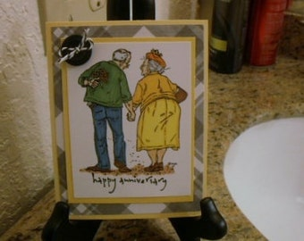 Old Couple Jack and Ginger Happy Anniversary Greeting Card