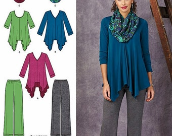 Loose Fit Tunic Top Pattern, Pull on Pants Pattern, Endless Scarf Pattern, Knit Top and Pants Pattern, Simplicity Sewing Pattern 1323