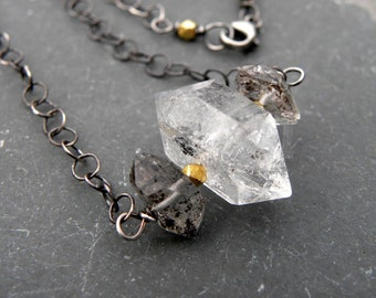 Sterling Silver and Herkimer Diamond Chain Necklace Gold Artisan Wire Wrapped Artisan Handcrafted BOHO