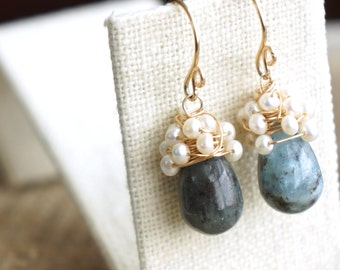 o p e n   s e a s ....14K GF fresh water pearl & kyanite earrings