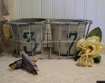 Zinc Basket and Pots - Hand Painted - Stenciled - French Farmhouse - Nordic Chic - Rustic Display